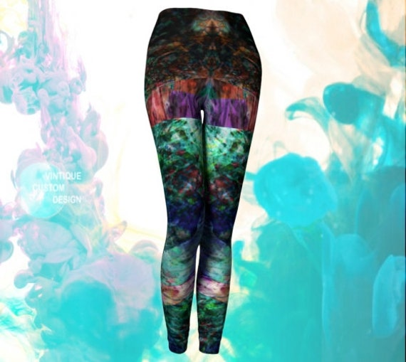 Psychedelic VAPORWAVE LEGGINGS Rave Leggings WOMENS Yoga Pants Festival Fashion Clothing Trippy Art Leggings Crazy Leggings Rainbow