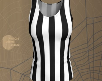 Black and White TANK TOP Referee Tank Top HALLOWEEN Shirt Womens Inmate Tank Top Striped Prison Tank Top in Vertical or Horizontal Stripes