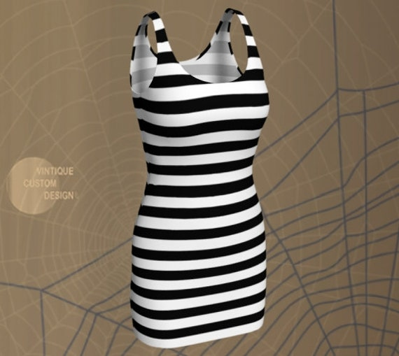 Prisoner Jail HALLOWEEN DRESS Women's Designer Fashion Dress Womens Costume Dress Bodycon Dress Party Dress Black and White Striped Dress