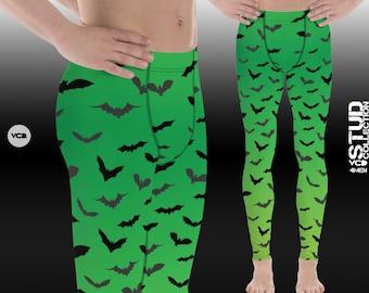 Mens Halloween Leggings BAT LEGGINGS MENS Halloween Bat Print Leggings Meggings Mens Yoga Pants Halloween Leggings for Men Green Black