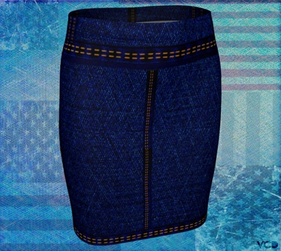 Denim SKIRT Womens Faux Jean Printed Mini Skirt for Women Blue Jean Skirt High Waisted Skirt Fake Jean Skirt Fitted Skirt Jean Skirt Womens
