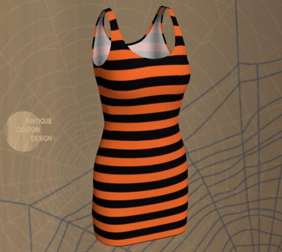 WITCH DRESS HALLOWEEN Dresses for Women Orange and Black Stripe Print Designer Fashion Dress Womens Costume Dress Bodycon Dress Party Dress