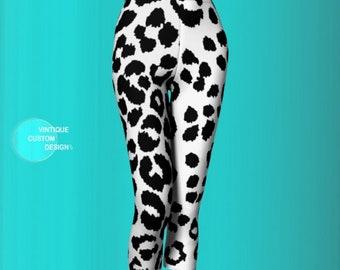 Snow Leopard Cheetah Print Leggings Black and White Animal Print Capri LEGGINGS WOMENS Capri Leggings Yoga Pants Women's Yoga Capri Leggings