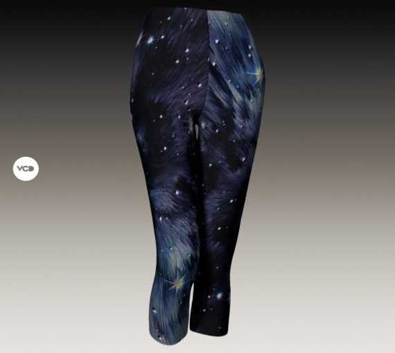 Celestial GALAXY LEGGINGS Capri PANTS Yoga Pants Yoga Leggings Yoga Capri Womens Leggings Workout Clothing Festival Clothing Rave Leggings
