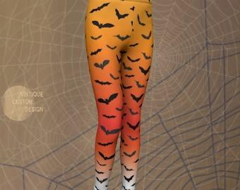 HALLOWEEN LEGGINGS KIDS Bat Print Orange Ombre Leggings Boys and Girls Leggings Halloween Bat Tights Baby Leggings Toddler Leggings Girls