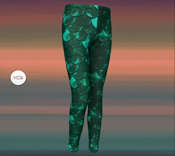 Green MERMAID LEGGINGS for GIRLS Mermaid Scale Leggings Girls Baby Leggings Toddler Leggings Kids Clothing Youth Leggings Back to School