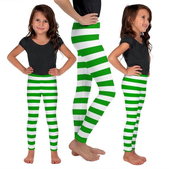 ELF LEGGINGS Kids Green Striped Elf Baby Leggings Green and White Leggings Kids Leggings Baby Leggings Christmas Pants for Kids and Baby