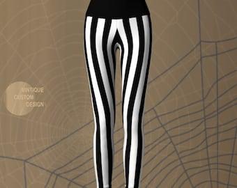 Black and White STRIPED YOGA PANTS Halloween Leggings Women's Striped Yoga Leggings Halloween Costume Leggings Beetle Juice Leggings Cosplay