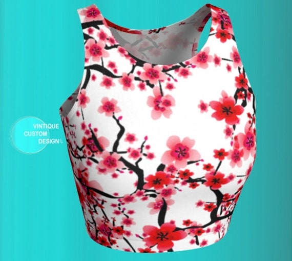 CROP TOP Floral Print Cherry Blossom Top WOMENS Crop Top Workout Clothing Athletic Crop Top Womens Yoga Top Sexy Crop Top Spring Fashion Top
