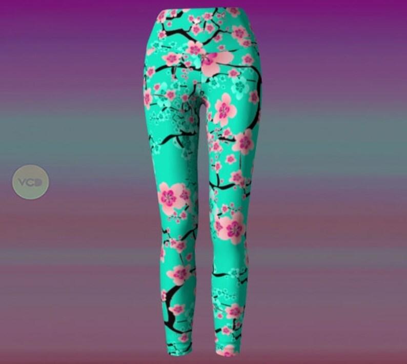 227f4f0343a97 Cherry Blossom YOGA PANTS WOMENS Yoga Leggings Printed | Etsy