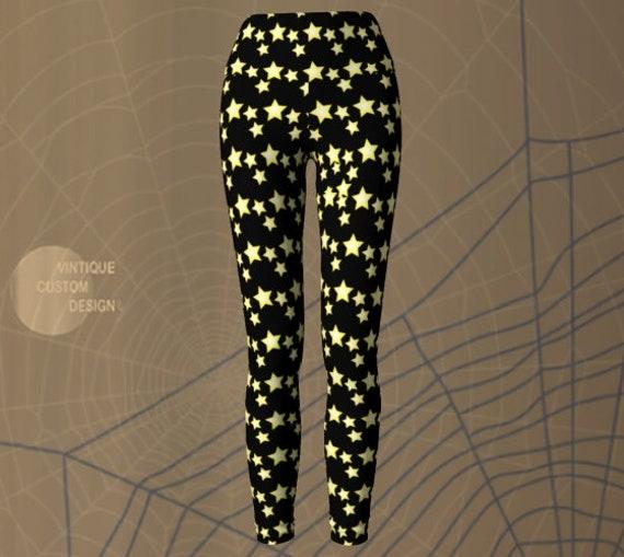 STAR LEGGINGS Black and Yellow HALLOWEEN Leggings Women's Star Print Yoga Leggings Costume Leggings Yoga Leggings for Women
