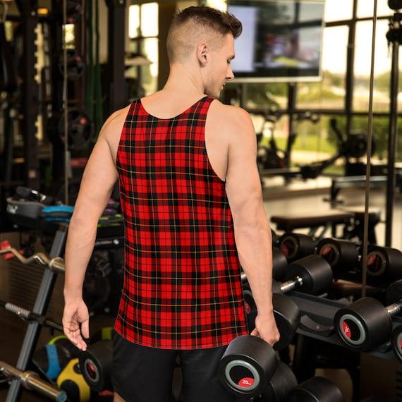 Plaid Tank Top Mens Red Tartan Plaid MENS TANK TOP Mens Tank Top for Men Workout Tank Top Sleeveless Tank Top Athletic Tank Top Gym Tank Top