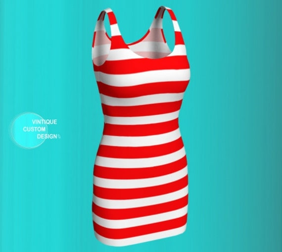 Red and White Striped BODY-CON Dress for Women Women's Body-con Dress Designer Fashion Dress Party Dress Body-Con Dress Patriotic Dress