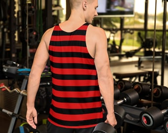 Mens Freddie Kruger HALLOWEEN TANK TOP Red and Black Striped Tank Top All Over Print Tank Top for Men Halloween Tank Top Sleeveless Tank Top