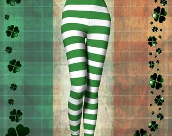 SAINT PATRICKS DAY Leggings Green and White Striped Yoga Leggings Womens Striped Leprechaun Leggings St. Pattys Gift for Wife Gift for Her