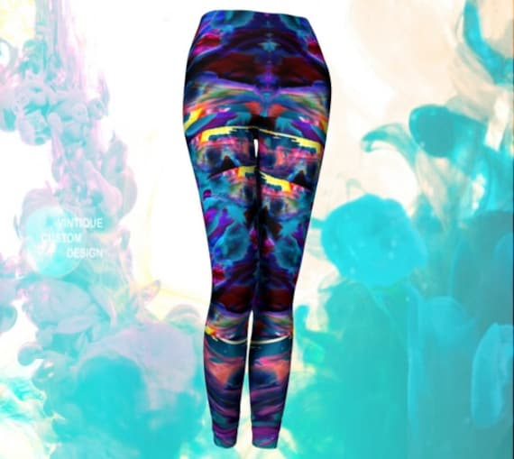 Trippy Art Leggings Psychedelic LEGGINGS Paint Splatter Leggings Sexy Print Leggings Sexy YOGA PANTS Festival Clothing Womens Rave Leggings