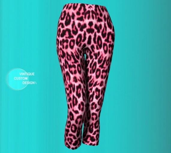Cheetah Print Leggings Pink and Black Animal Print Capri Leopard Print LEGGINGS WOMENS Capri Leggings Yoga Pants Women's Yoga Capri Leggings