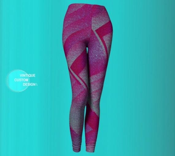 RETRO Eighties GLAM LEGGINGS Pink Sparkly Print Yoga Leggings Womens Yoga Pants Rave Leggings Work Out Clothing Cycling Pants Magenta Pink