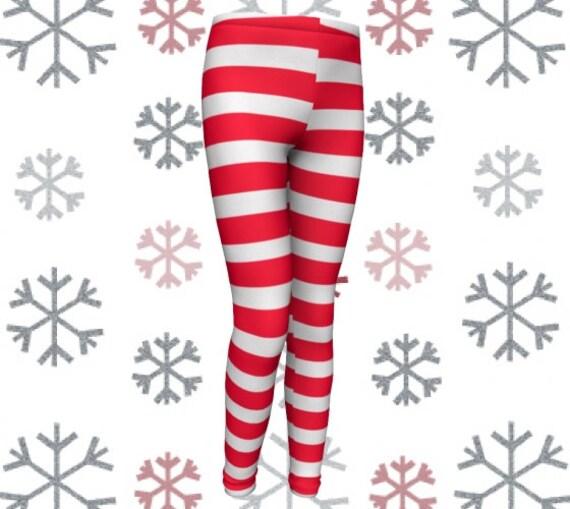 CANDY CANE LEGGINGS Christmas Leggings Red and White Striped Leggings Toddler Leggings Kids Leggings Baby Leggings Children Leggings Elf