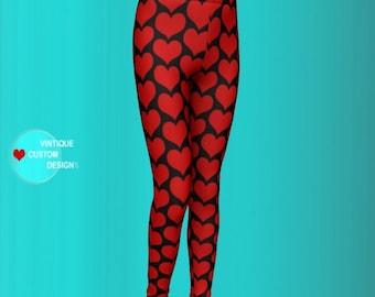 VALENTINES DAY LEGGINGS Black and Red Heart Leggings - Girls Leggings - Clothing for Girls - New Mom Gift - Mommy to be Gift - Baby Leggings