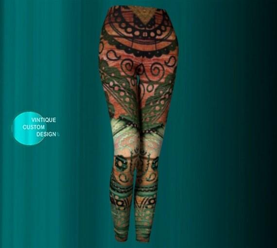 BOHO LEGGINGS Womens Yoga Leggings Boho Fashion Printed Leggings Aztec Tribal Pattern Leggings Tribal Leggings Yoga Leggings Hippie Clothing