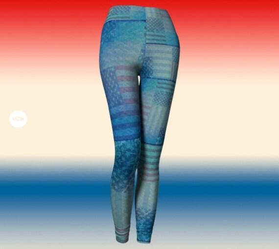 AMERICAN Flag Leggings Denim Jean Leggings STARS and Stripes Red White and Blue LEGGINGS Yoga Leggings Womens Yoga Pants Patriotic Leggings