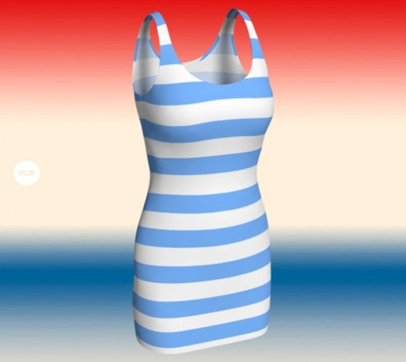 STRIPED DRESS Women's Preppy Body-con Dress Summer Dresses for Women Blue and White Dress Body-con Dress Party Dress Patriotic Clothing