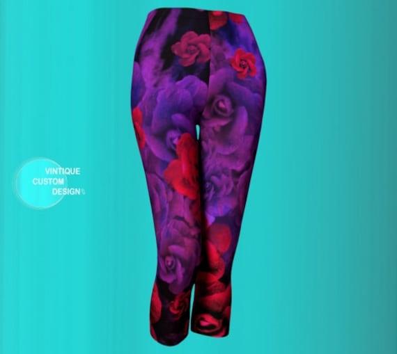 Floral Rose LEGGINGS WOMENS Yoga Capri Leggings Yoga Pants Purple and Red Flower Leggings Workout Leggings Running Tights Women's Yoga Pants