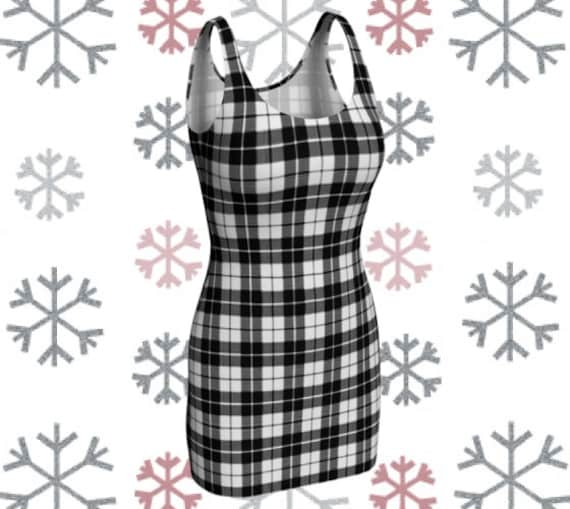 Tartan Plaid Dress Black and White Plaid Womens Designer Dress Skater DRESS Sexy Mini Dress Flare Dress Sexy Print Dress Plaid Dress Bodycon