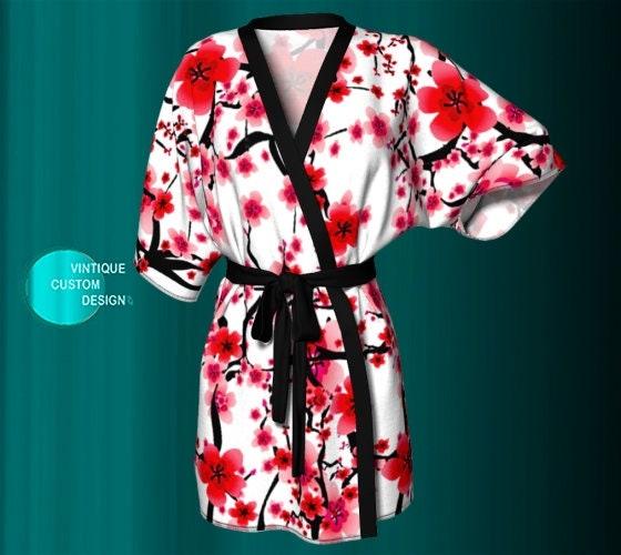 909bd6368 Cherry Blossom KIMONO ROBE Womens Designer Kimono Robe Womens Gifts For  Wife Luxury Robe Womens Robes Red and White Robe Floral Kimono Robe