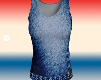 Denim TANK TOP Women's Faux Denim Art Print Tank Top Workout Clothing for Women Work Out Top Yoga Top Cycling Top Gift for Her Blue Jean Top