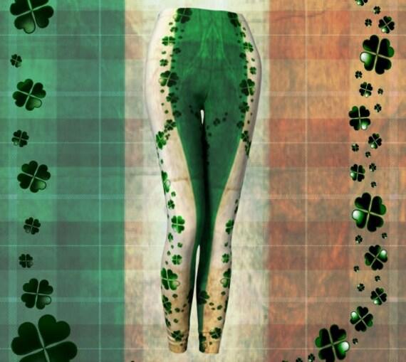 SHAMROCK CLOVER LEGGINGS For Women Sexy Print Leggings Green and White Green Clover Yoga Leggings Sexy Womens Leggings Lucky Irish Leggings