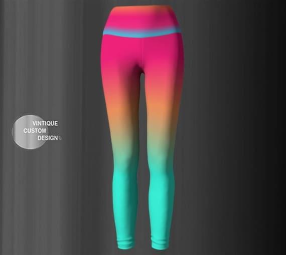Yoga Leggings WOMENS Ombre Leggings Rainbow Leggings Neon Colorful Bright Fashion LEGGINGS Designer Yoga Pants for Women Rave Leggings