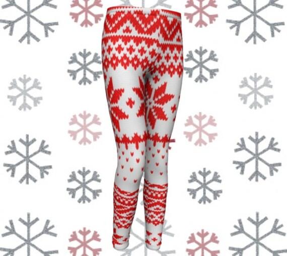 SNOWFLAKE LEGGINGS Winter Snowflake Pattern Leggings Printed Leggings Red White Leggings Baby Leggings Toddler Leggings Kids Clothing Outfit
