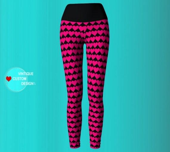 PINK HEART LEGGINGS Yoga Leggings Yoga Pants Womens Valentines Day Leggings Heart Printed Leggings Pink and Black Designer Fashion Leggings