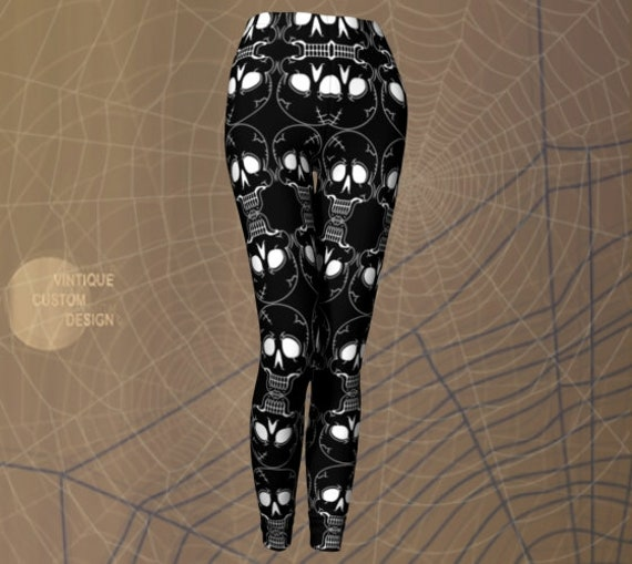 SKULL LEGGINGS Womens HALLOWEEN Leggings Skeleton Leggings Cosplay Tights for Women Black and White Skull Yoga Pants Women's Yoga Leggings