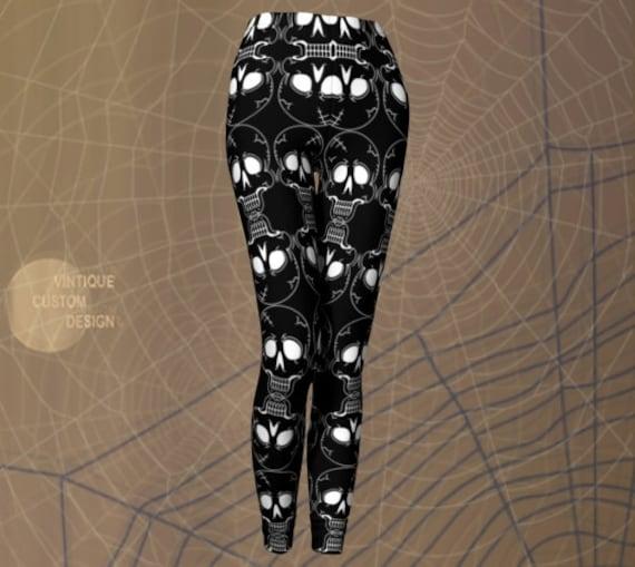 SKULL LEGGINGS Womens HALLOWEEN Leggings Skeleton Leggings Cosplay Tights for Women Black and White Skull Yoga Pants Women's Yoga Leggings