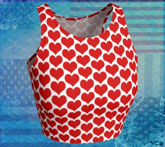 VALENTINES DAY TOP Heart Crop Top Women's Crop Top Red & White Womens Crop Top Cycling Top Work Out Clothing Gym Shirt for Women Yoga Top
