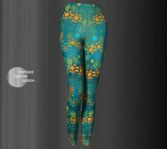 Vintage FLORAL LEGGINGS Flower Print Womens Leggings Yoga Leggings Women's Yoga Pants Designer Fashion Print Leggings Workout Clothing Pants
