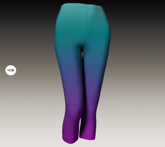 OMBRE LEGGINGS Womens Purple and Turquoise CAPRI Leggings Yoga Pants Yoga Leggings Yoga Capri Pants Workout Clothing Festival Clothing