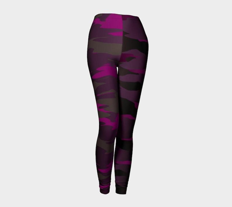 CAMOUFLAGE LEGGINGS Womens Camo Yoga Pants Purple Ombre Camouflage Art Leggings Workout Leggings Designer Fashion Leggings Fitness Leggings