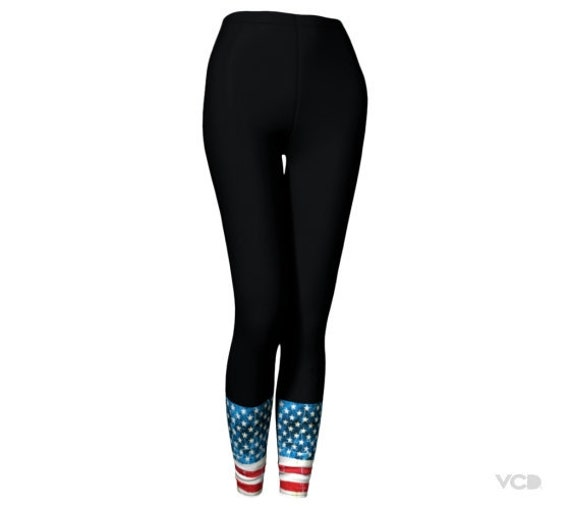 85f36f76f729f3 AMERICAN Flag LEGGINGS USA Print Yoga Leggings for Women | Etsy