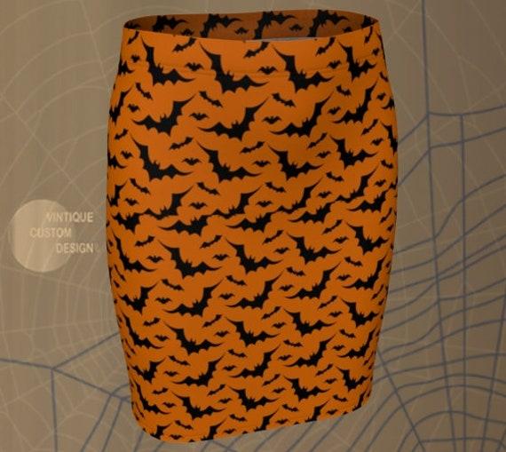 BAT SKIRT HALLOWEEN Skirt Womens Skirt for Halloween Orange and Black Skirt Fitted Skirt or Flare Skirt Purple and Black Skirt Witch Costume