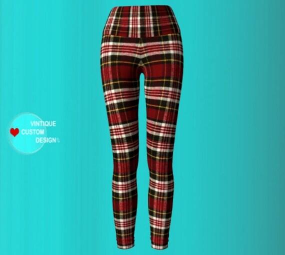 Red Tartan PLAID YOGA PANTS Red Tartan Plaid Leggings for Women Womens Clothing Red Plaid Sexy Print Leggings Sexy Yoga Pants Sexy Leggings