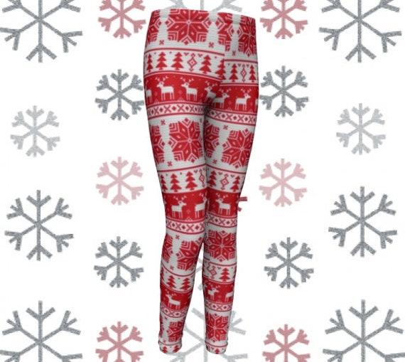 REINDEER CHRISTMAS LEGGINGS for Kids Black and White Christmas Pattern Leggings Childrens Yoga Pants Baby Leggings Toddler Leggings Tights