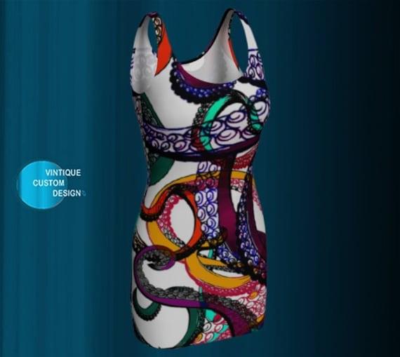 Octopus KRAKEN Dress Womens Body Con Art Print Dress Mythological Cthulhu Art Dress Squid Tentacle Dress Multi Color Designer Fashion Dress