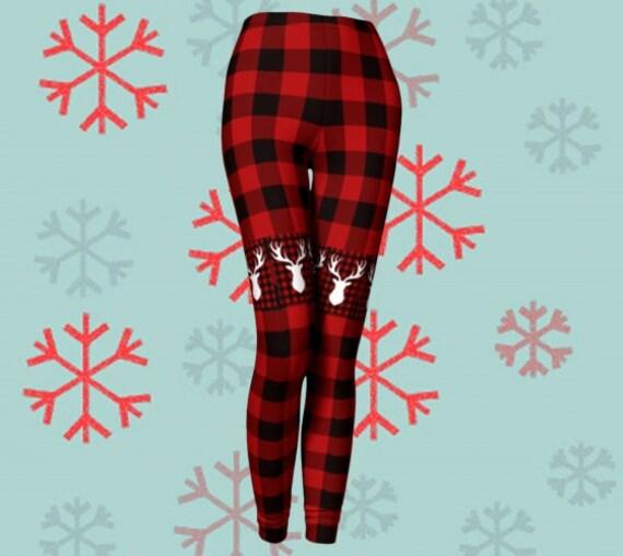 Red and Black BUFFALO Check PLAID Reindeer LEGGINGS Christmas Yoga Leggings for Women Yoga Pants Womens Gift for Wife Christmas Gift for her