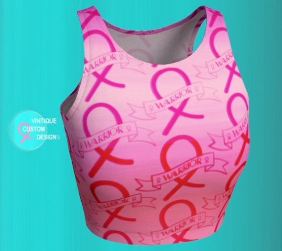 BREAST CANCER AWARENESS Crop Top For Women - Pink Ribbon - Womens Crop Top - Work Out Clothing - Support - Get Well Gift - Pink Ribbon Top
