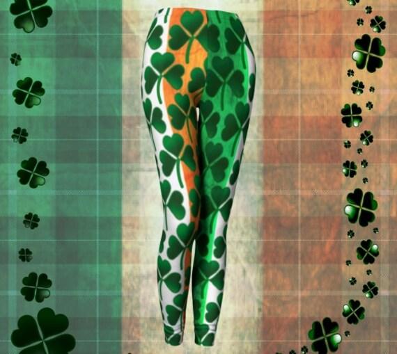 SHAMROCK CLOVER LEGGINGS For Wome Green White Orange Irish Flag Printed Green Clover Yoga Leggings Sexy Womens Leggings Lucky Irish Womens