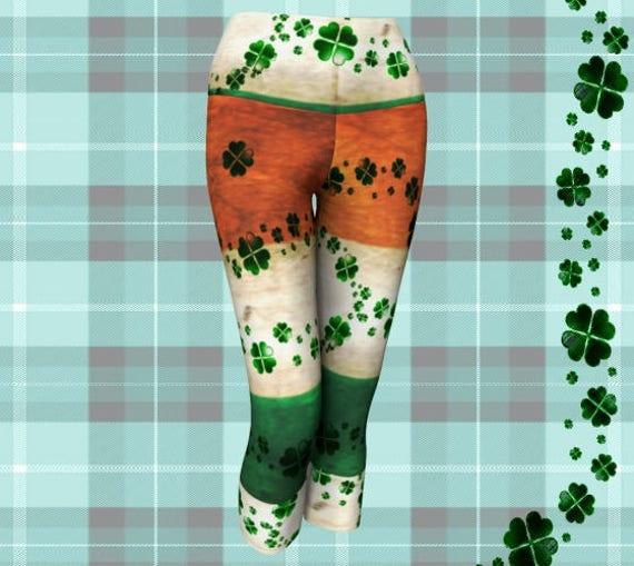 IRISH LEGGINGS Saint Patricks Day Clothing for Women Sexy Yoga Pants Capri Yoga Leggings Sexy Print Leggings CLOVER Leggings Lucky Leggings